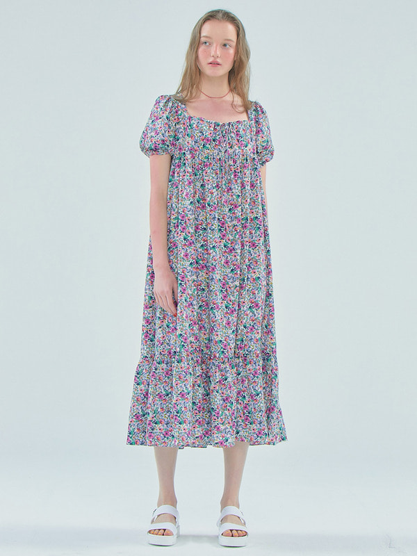 Floral Shirring long dress / White