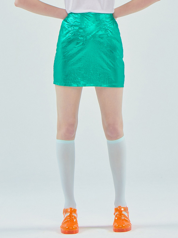 Foil mini skirt_Green