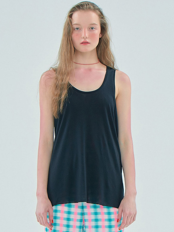 Basic Sheer Sleeveless T_Black