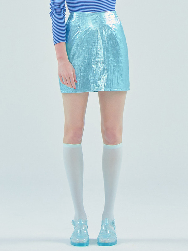 Foil mini skirt_Light Blue
