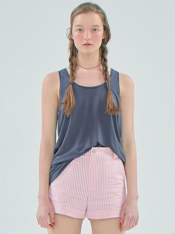 Basic Sheer Sleeveless T_Charcoal