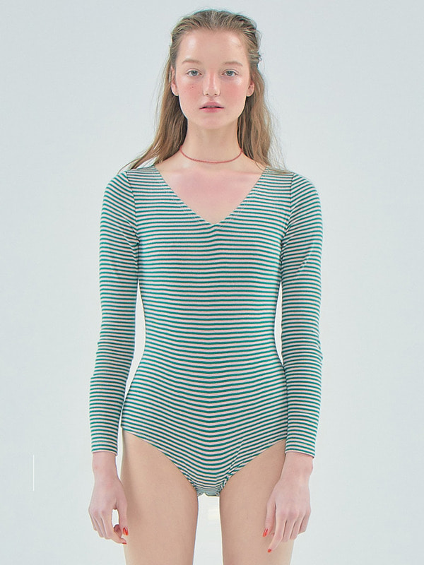 Stripe bodysuit_Green
