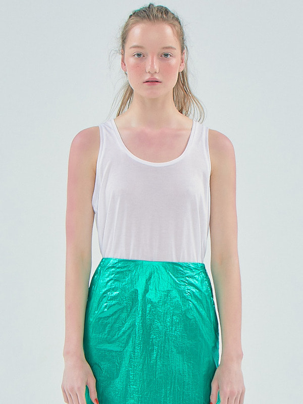 Basic Sheer Sleeveless T_White