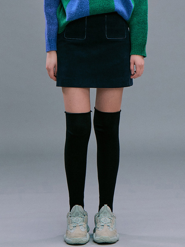 [김나영 착용] Corduroy A-line Mini Skirt / Navy