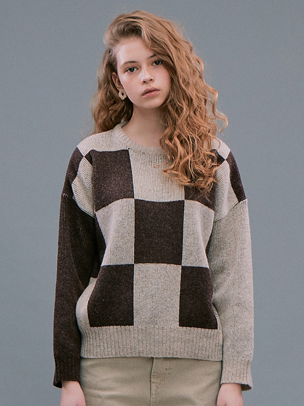Check Jacquard Sweater / Beige
