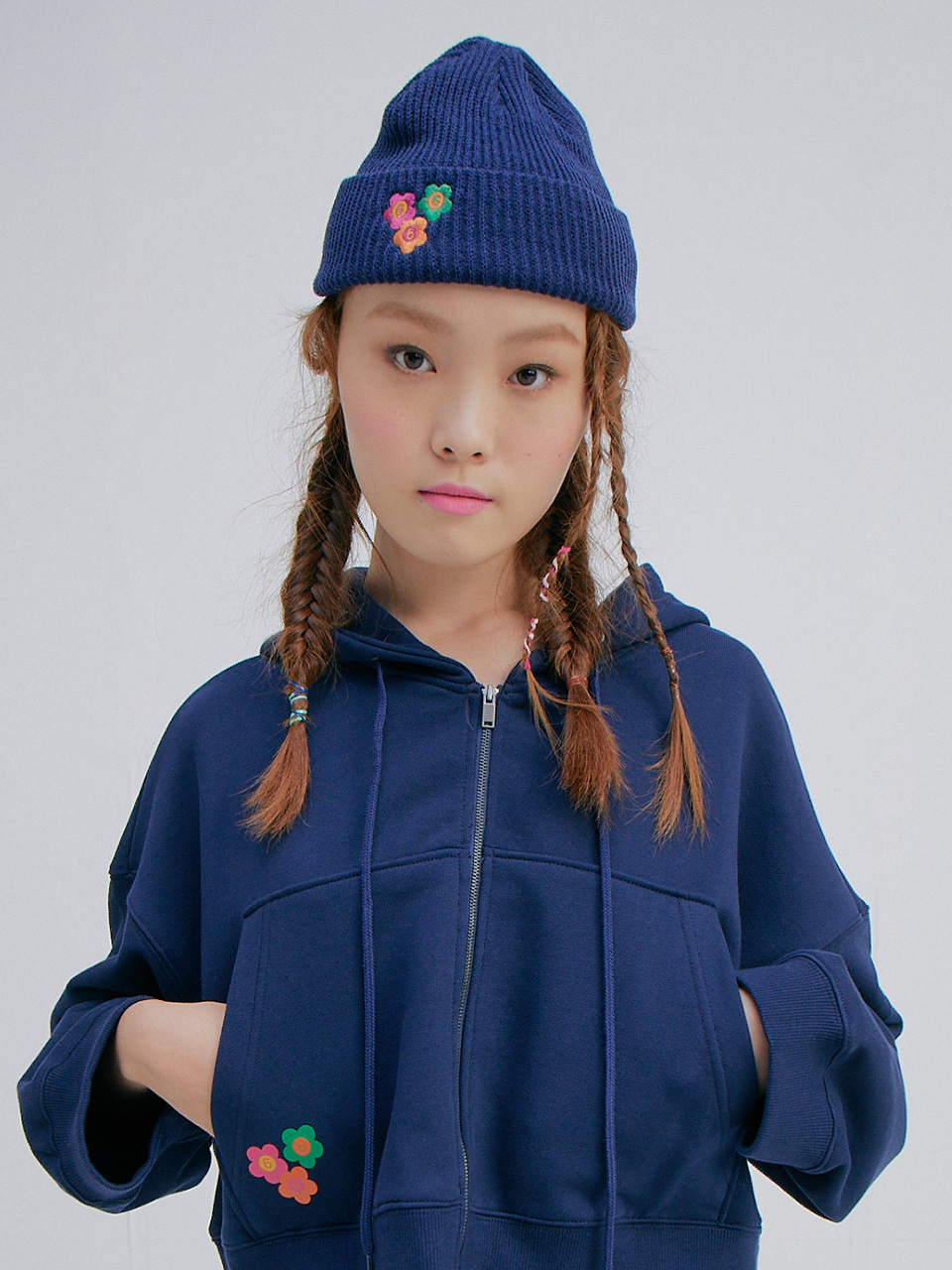 Flower Embroidery Watch Cap_Navy