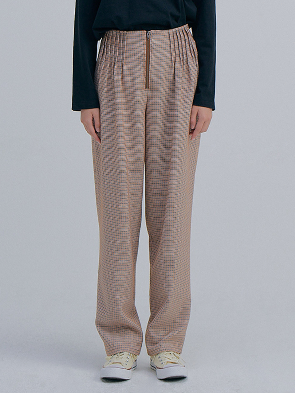 Hounds Tooth Wide Pants_Orange