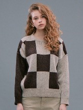 Check Jacquard Sweater_Beige