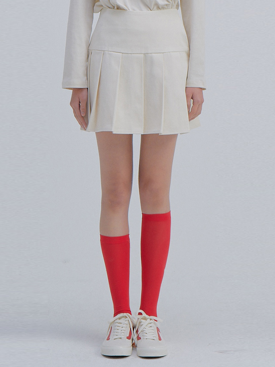 [김나영 착용] Pleats Mini Skirt_Ivory