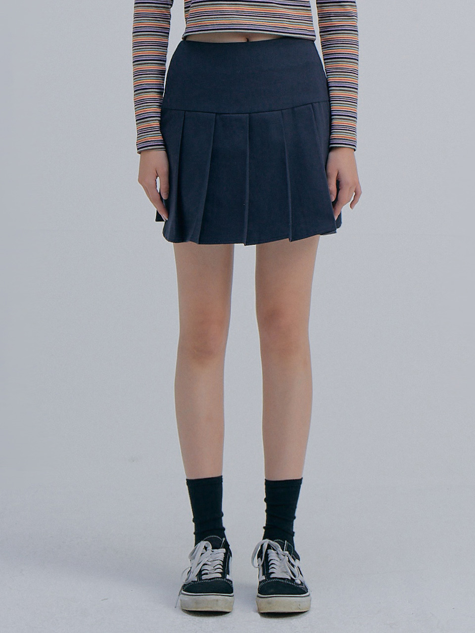 [김나영 착용] Pleats Mini Skirt_Navy