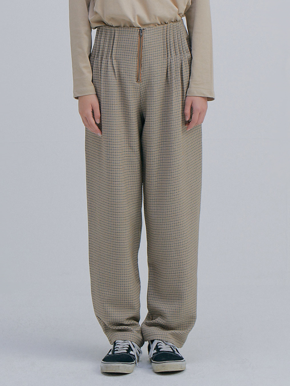 Hounds Tooth Wide Pants_Brown
