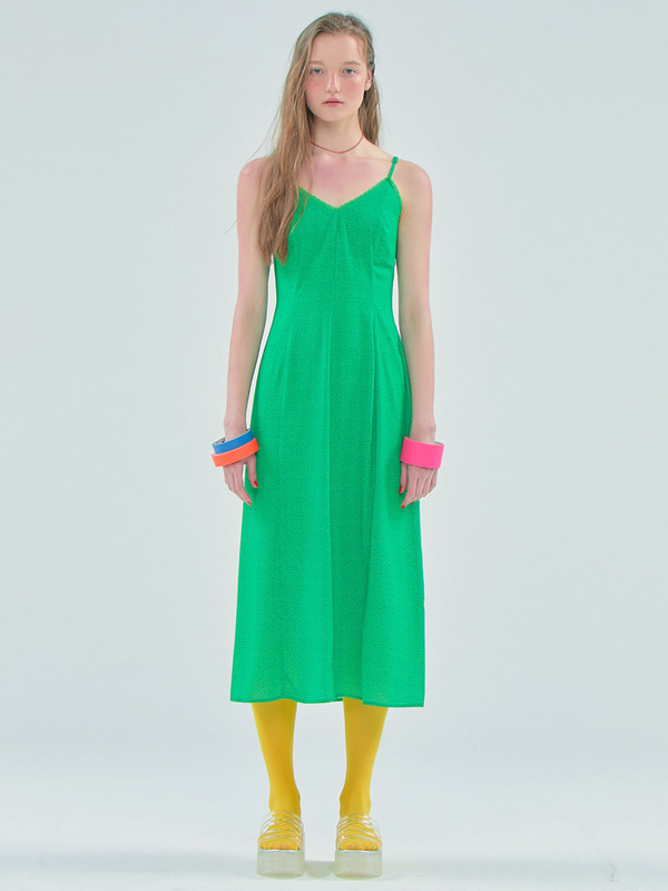 [김나영착용] Dot Slip long dress / Green