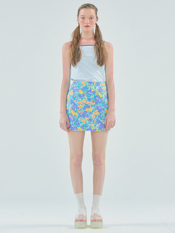 Flower mini skirt / Purple