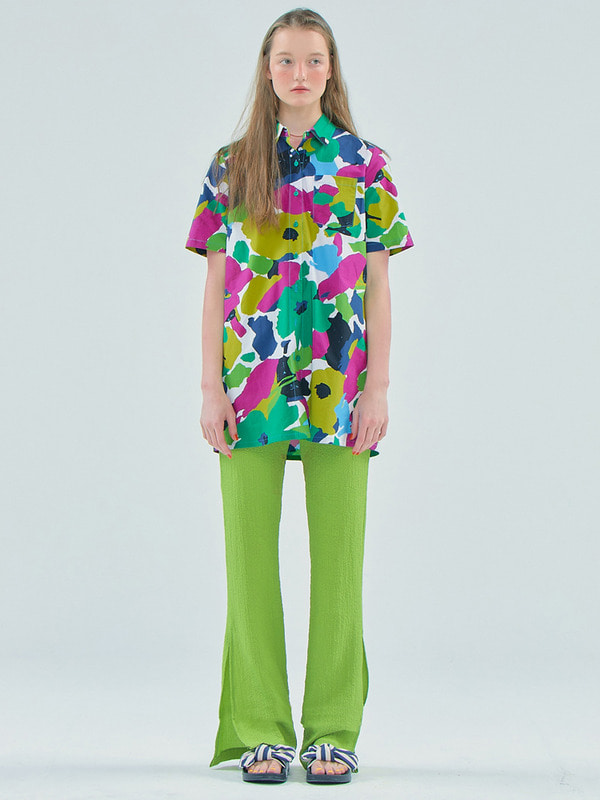 Flower shirts dress / Green