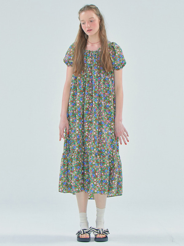 Floral Shirring long dress / Green