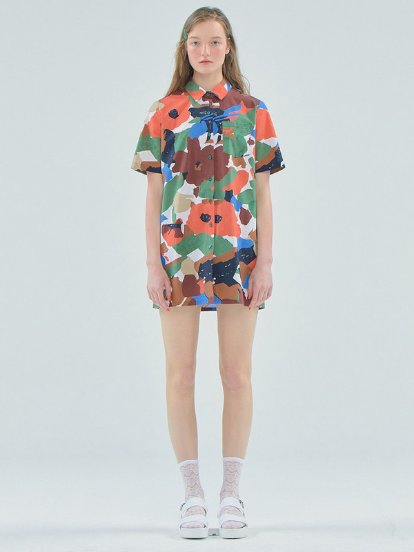 Flower shirts dress / Khaki