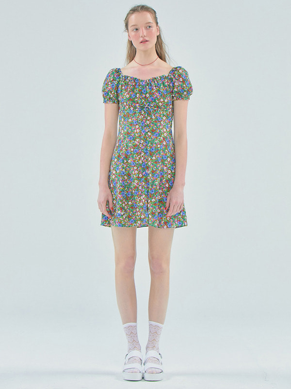 Floral shirring mini dress_Green
