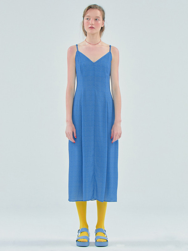[김나영착용] Dot Slip long dress / Blue