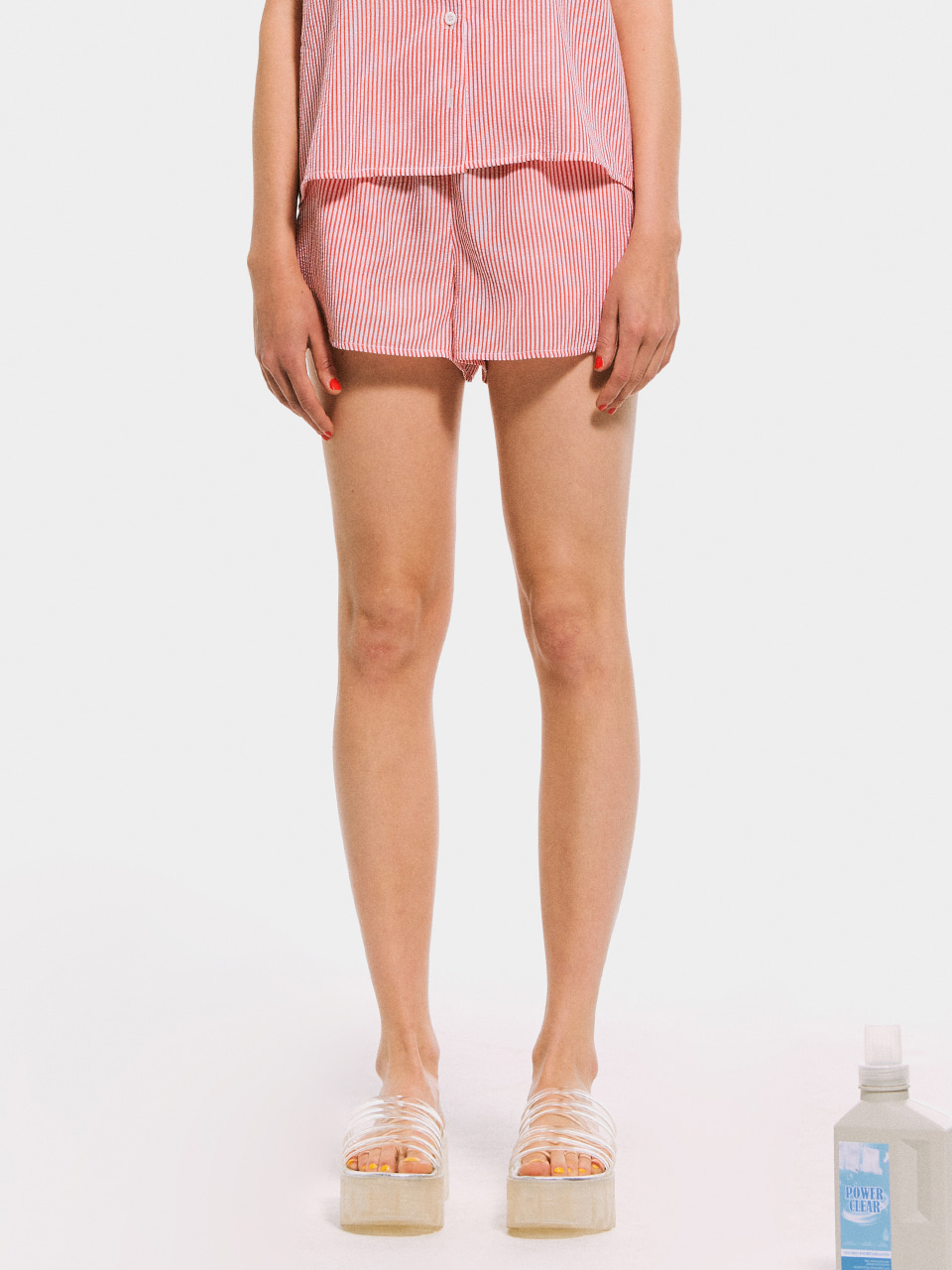 Stripe Pajama Shorts_Red