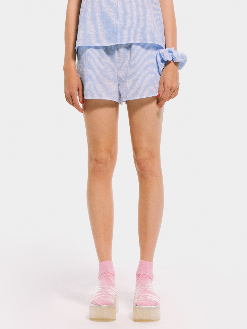Stripe Pajama Shorts_Light Blue