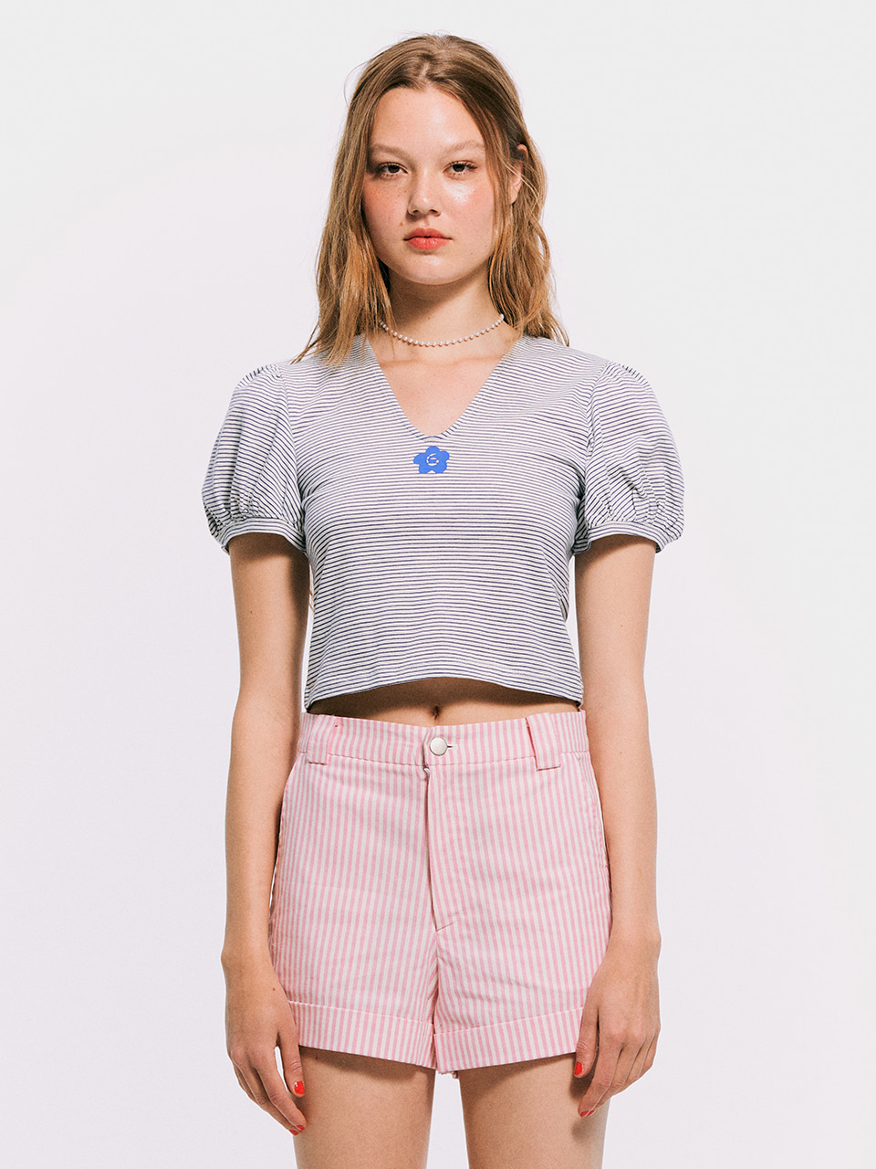 V-neck Puffy T shirt_Blue