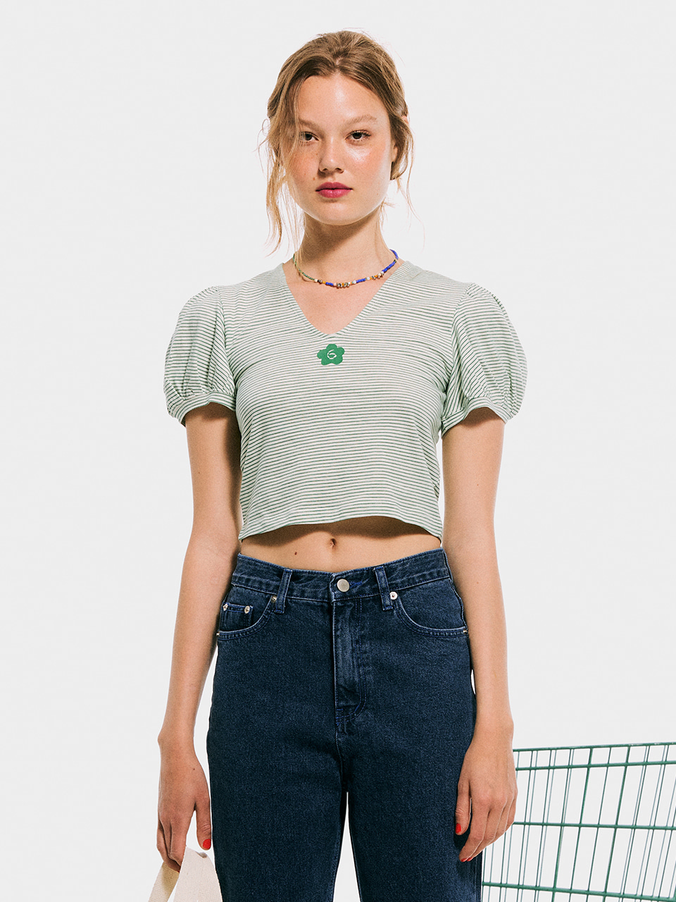V-neck Puffy T shirt_Green